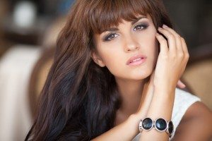 beautiful brunette smiling woman portrait lifestyle
