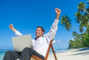Businessman Relaxing on the Beach