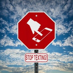 Stop Texting Icon Sign - Blue Sky with Clouds Square