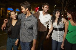 Group Of Friends Enjoying Night Out Together