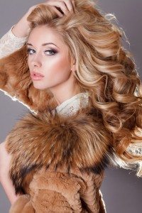 Glamour young woman beauty face long blonde hair